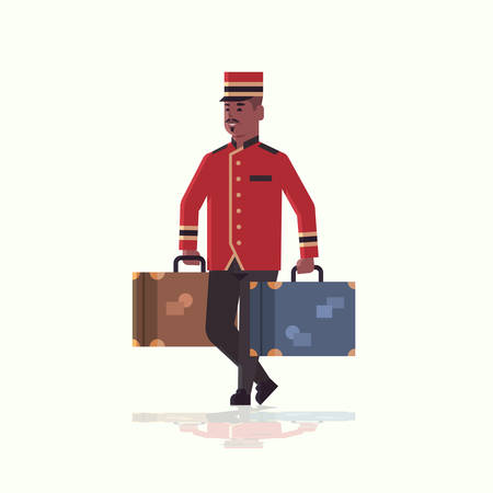 bell boy carrying suitcases service concept african american bellman holding luggage male hotel worker in uniform full length flat vector illustration 일러스트