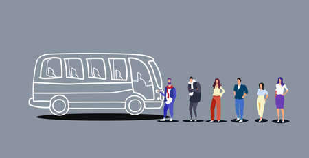 group of people tourists standing line queue to boarding tour bus men women passengers waiting at city public transport station sketch doodle horizontal vector illustration