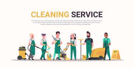 janitors team cleaning service concept male female mix race cleaners in uniform working together with professional equipment flat full length horizontal copy space vector illustration Vettoriali