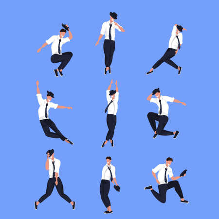 set businessman dancer in different poses male cartoon character dancing collection blue background flat full length vector illustration