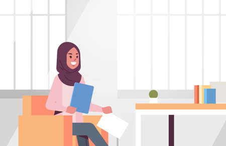 arabic businesswoman sitting at workplace desk arab business woman holding paper documents preparing report working process concept modern office interior flat portrait horizontal vector illustration