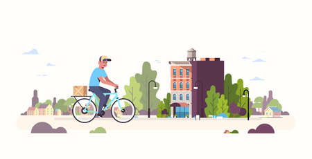 postman in uniform riding bicycle carrying cardboard parcel box courier cycling outdoors express delivery service concept modern cityscape background flat full length horizontal vector illustration Ilustração