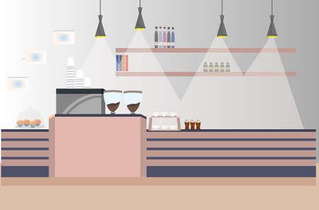 modern cafe empty no people restaurant coffee shop interior flat horizontal vector illustration