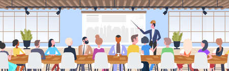 man architect doing presentation engineer presenting new building city model to colleagues at meeting conference urban panning project concept modern draftsman studio interior full length horizontal vector illustration