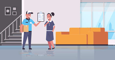 postman in uniform holding cardboard parcel box courier showing clipboard to woman recipient express delivery service concept modern living room interior flat full length vector illustration