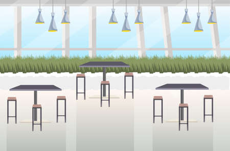 modern cafe interior empty no people restaurant with furniture flat horizontal vector illustration