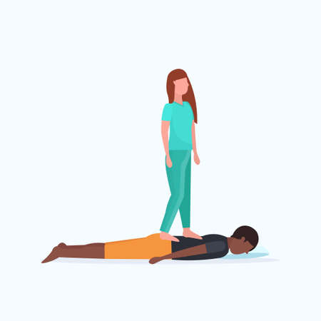 masseuse in uniform standing on patients back doing healing treatment african american guy having massage manual therapy concept full length vector illustration