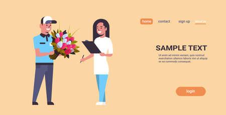 Hombre de mensajería dando ramo de flores a la mujer concepto de servicio de entrega urgente destinatario chica que recibe el paquete del repartidor ilustración de vector de espacio de copia de longitud completa horizontal