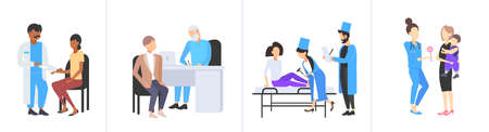 set doctors examining patients different medical consultation medicine healthcare concepts collection flat full length horizontal vector illustration