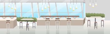 Moderno café interior vacío sin restaurante de personas con muebles ilustración de vector de banner horizontal plana Ilustración de vector