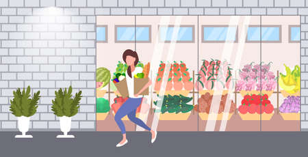 woman customer holding paper bags full of groceries female shopper buying products shopping concept modern grocery shop supermarket exterior flat full length horizontal vector illustration