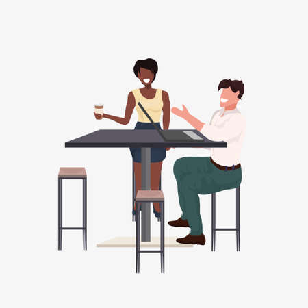 mix race couple sitting at cafe table man woman discussing and drinking coffee during meeting flat full length vector illustration