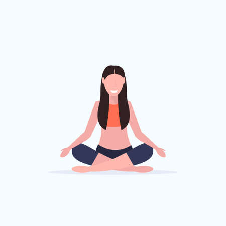 young woman doing yoga exercises smiling sport fitness girl sitting lotus pose meditation relaxation concept full length white background vector illustration