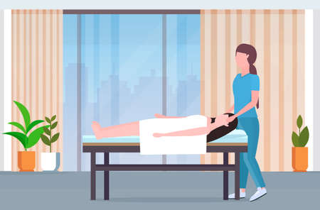 woman lying on massage bed african american masseuse doing healing treatment massaging injured patient manual physical therapy rehabilitation concept modern clinic spa salon interior full length vector illustration Vectores
