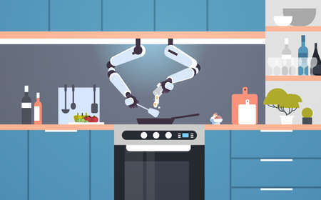 smart handy chef robot preparing fried eggs in frying pan robotic assistant innovation technology artificial intelligence concept modern kitchen interior flat horizontal vector illustration Фото со стока - 128444590