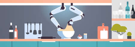 smart handy chef robot making dough in bowl robotic assistant innovation technology artificial intelligence concept modern kitchen interior flat horizontal banner vector illustration