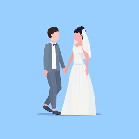 newly weds man woman standing together romantic couple bride and groom holding hands wedding day celebration concept male female cartoon character full length flat vector illustration