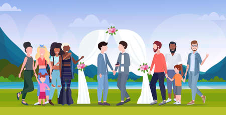 couple newly weds gays standing behind floral arch same gender happy married family wedding celebrating concept landscape background full length flat horizontal vector illustration