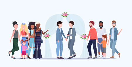 couple newly weds gays standing behind floral arch same gender happy married family wedding celebrating concept male cartoon characters full length flat horizontal vector illustration