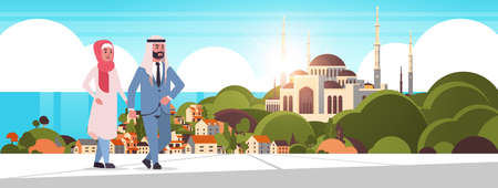 arabic couple walking outdoor arab man woman wearing traditional clothes arabian cartoon characters over nabawi mosque building muslim cityscape beautiful seaside background horizontal vector illustration Vetores