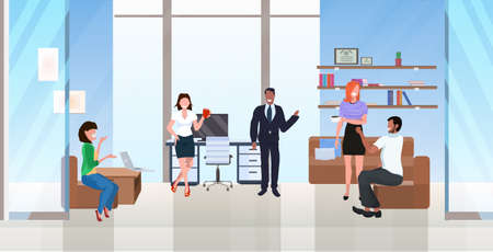 businesspeople discussing new project during meeting successful teamwork concept mix race colleagues in creative co-working center modern workspace cabinet interior flat horizontal full length vector illustration