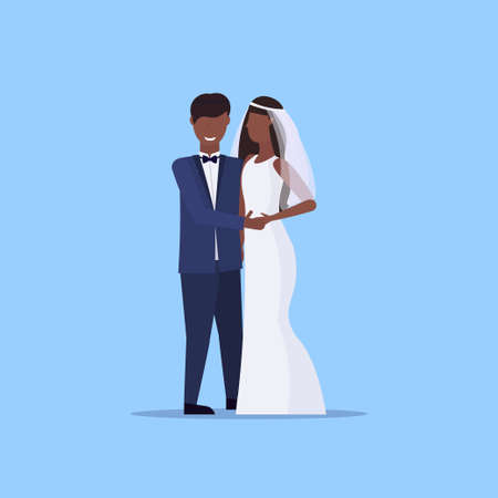 newly weds man woman standing together romantic african american couple bride and groom holding hands wedding day celebration concept male female cartoon character full length flat vector illustration