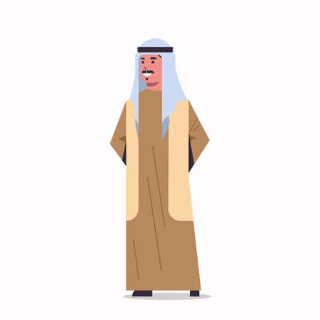 arabic businessman in hijab arab man wearing traditional clothes standing pose arabian male cartoon character full length flat white background vector illustration