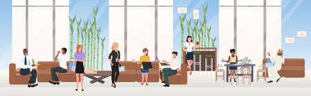 mix race businesspeople relaxing communicating during meeting coffee break concept creative co-working center contemporary lounge area interior flat horizontal full length vector illustration Vettoriali