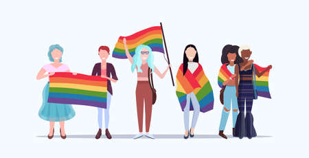 women group holding rainbow flag love parade pride festival concept mix race embracing female cartoon characters standing together full length flat horizontal vector illustration