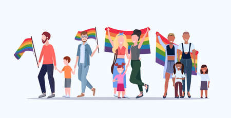 gays and lesbians with children holding rainbow flag lesbian gay same sex mix race parents group love parade lgbt pride festival concept flat full length horizontal vector illustration Illustration