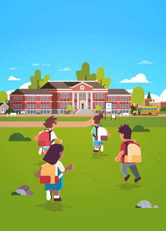children group with backpacks running to school building education concept mix race rear view pupils in front yard green grass landscape background flat full length vertical vector illustration Stock Illustratie