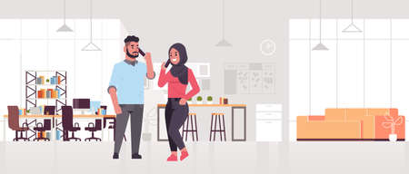 arabic businesspeople talking on smartphones arab business man woman making calls cellphone communication concept modern co-working center creative office interior flat full length horizontal vector illustration