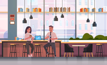 couple sitting on chair at bar counter with laptop coffee break concept business man woman drinking cappuccino during meeting modern cafe interior flat full length horizontal vector illustration