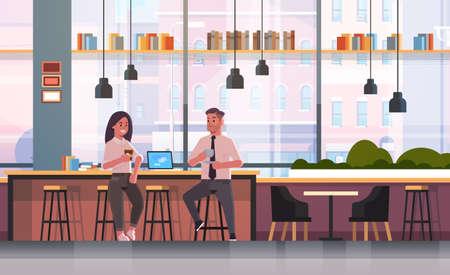Pareja sentada en una silla en la barra de bar con laptop coffee break concepto hombre de negocios mujer bebiendo capuchino durante la reunión moderna cafetería interior plana horizontal de longitud completa ilustración vectorial