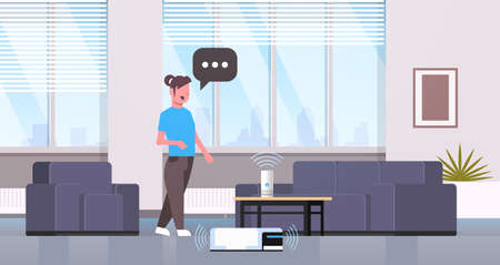 housewife using smart speaker voice recognition controlling vacuum cleaner housework concept modern living room interior flat horizontal full length vector illustration