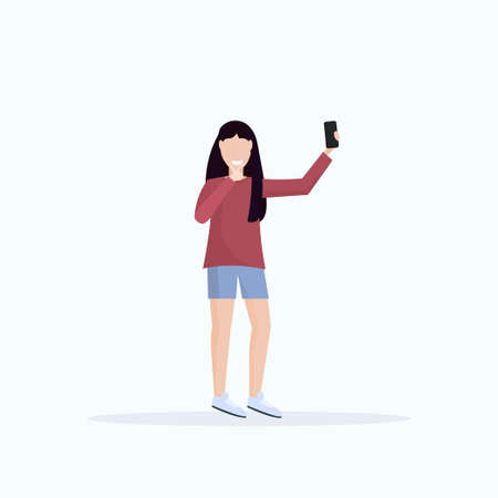 brunette woman taking selfie photo on smartphone camera casual female cartoon character posing white background flat full length vector illustration