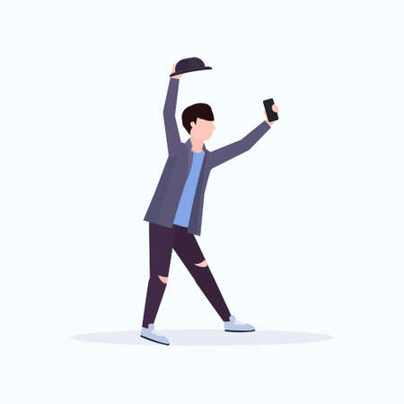 man in hat taking selfie photo on smartphone camera casual male cartoon character posing white background flat full length vector illustration Illustration