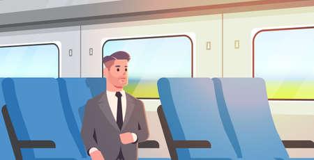 businessman traveling by train passenger man in suit sitting on comfortable chair during business trip travel long short distance public transport concept flat portrait horizontal vector illustration