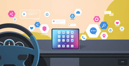 vehicle cockpit with smart driving assistance apps automobile computer assistant menu icons on board screen multimedia concept modern car interior flat horizontal vector illustration