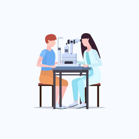 female ophthalmologist checking male patient vision doctor in uniform making eye surgery laser correction medicine and healthcare concept flat full length vector illustration 일러스트