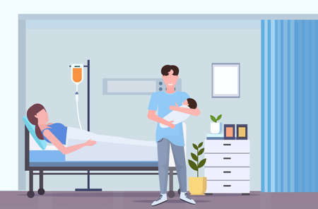 father holding newborn baby man visiting his wife lying in hospital bed with dropper happy family parenthood childbirth concept maternity ward interior flat full length horizontal vector illustration