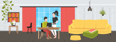 couple businesspeople using laptop at workplace desk businessman with female assistant brainstorming working together teamwork concept modern office interior flat horizontal full length vector illustration