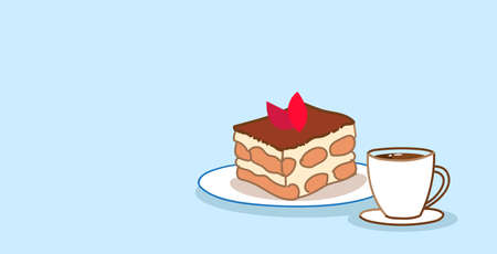 cake piece sweet bakery chocolate dessert with coffee cup food concept sketch doodle horizontal vector illustration Illustration