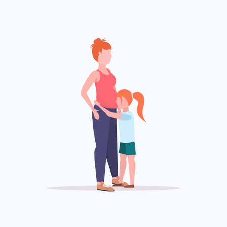 little girl listening her pregnant mothers belly cheerful woman waiting for newborn baby happy family pregnancy concept full length flat vector illustration
