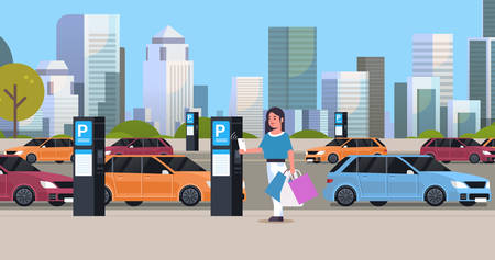 girl driver paying to parking place by smartphone at pay station ticketing machine nfc payment system concept modern cityscape background flat full length horizontal vector illustration Vectores