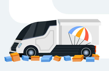 cargo van or truck with parachute parcel box express delivery service shipping gift by air concept flat horizontal vector illustration vector illustration Ilustração