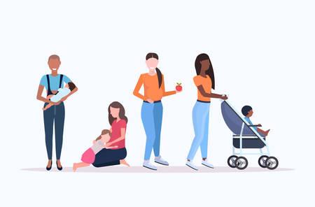 set mix race women with little kids pregnancy motherhood concept collection female cartoon characters full length horizontal vector illustration Ilustración de vector