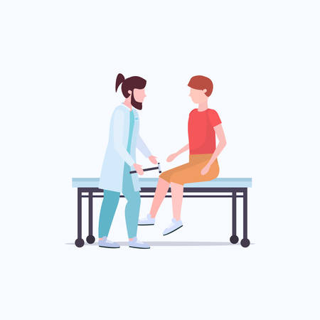 neurologists testing knee-jerk on man knee doctors in uniform using hummer checking reflexes of male patient medicine healthcare concept full length flat vector illustration