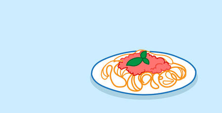 heaped plate of spaghetti pasta with basil and tomato sauce restaurant food menu concept sketch doodle horizontal vector illustration Illustration
