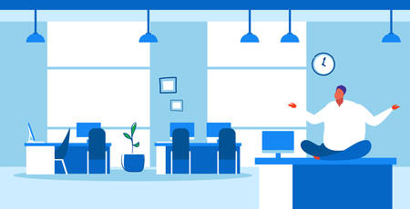 fat businessman sitting lotus pose on table workplace desk over weight business man keeping calm yoga meditation concept modern office interior sketch doodle horizontal full length vector illustration